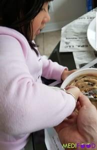 Izzie making cookie